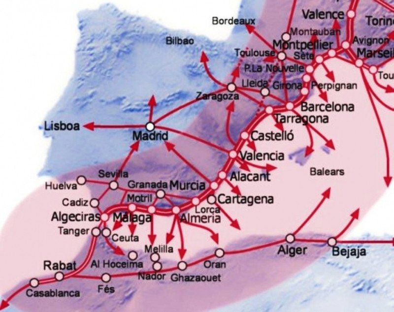 Recorrdio del Corredor Mediterráneo (mapa-ferrmed-es).
