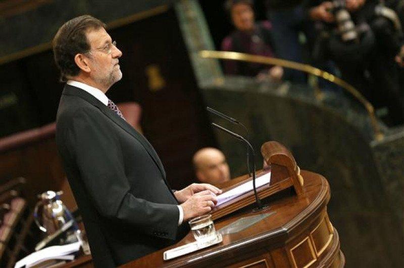 El presidente del Gobierno, Mariano Rajoy, durante su intervención ante el Pleno del Congreso de los Diputados el 19 de diciembre de 2012.