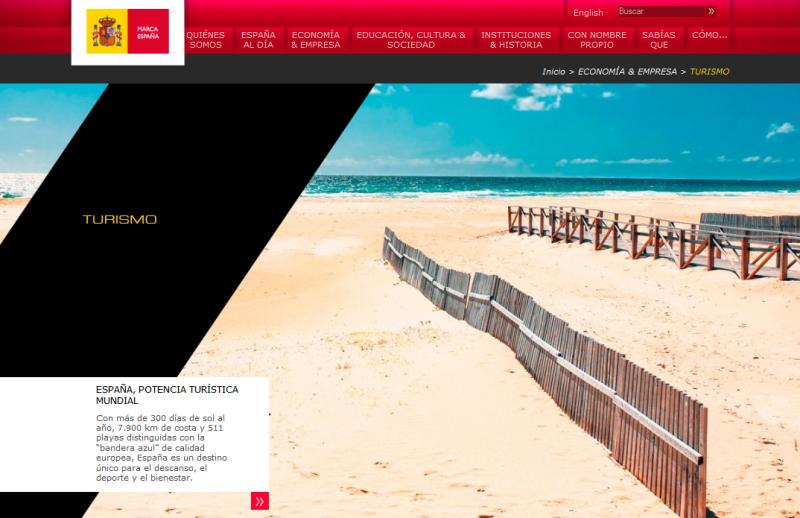 Apartado de la web de la Marca España dedicado al turismo.