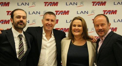 Tras la fusión de LAN y Tam: Mauricio Amaro, Enrique Cueto, Maria Claudia Amaro, Ignacio Cueto.
