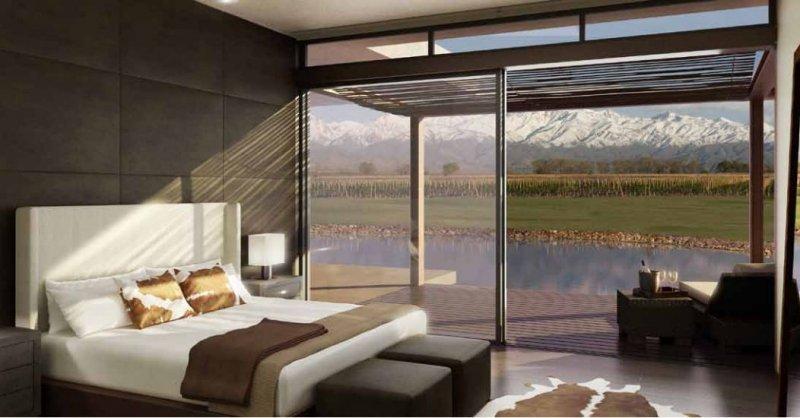 Habitación con vista a la Cordillera de los Andes.