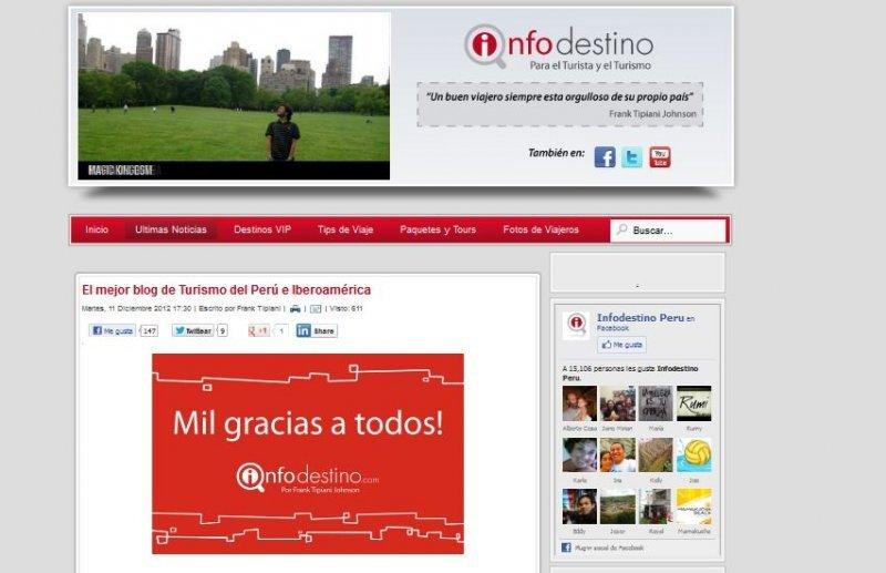 Blogger peruano gana primer concurso organizado por FITUR