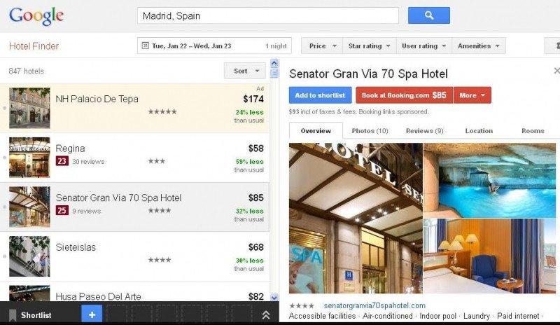 Google Hotel Finder incluye ya los hoteles españoles