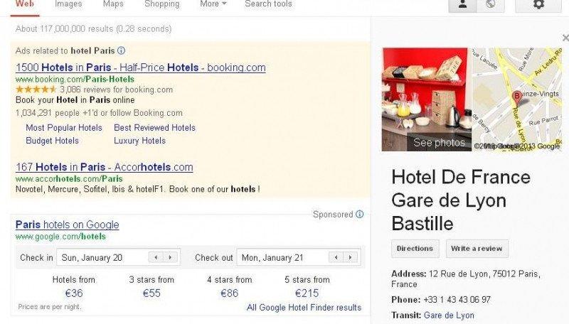 Google Hotel Finder aparece siempre en posición destacada.