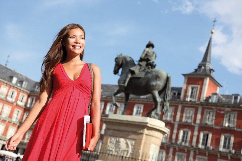 Una turista china en Madrid.