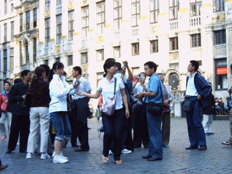 Un grupo de turistas chinos en Bruselas.