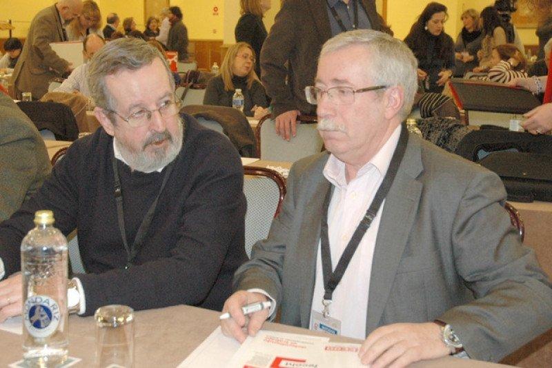 Javier González junto al secretario general de CCOO Ignacio Fernández Toxo, durante el congreso de la Federación Estatal de Comercio, Hostelería y Turismo de CCOO .
