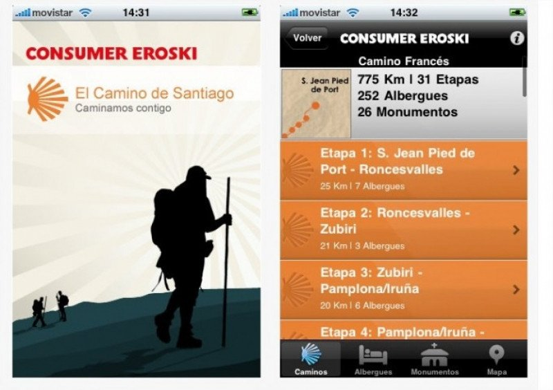 El Camino de Santiago ya cuenta con varias apps para móviles, como la de esta imagen.