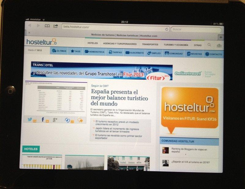 El Responsive Design se adapta al soporte: así se ve el diario en el iPad.