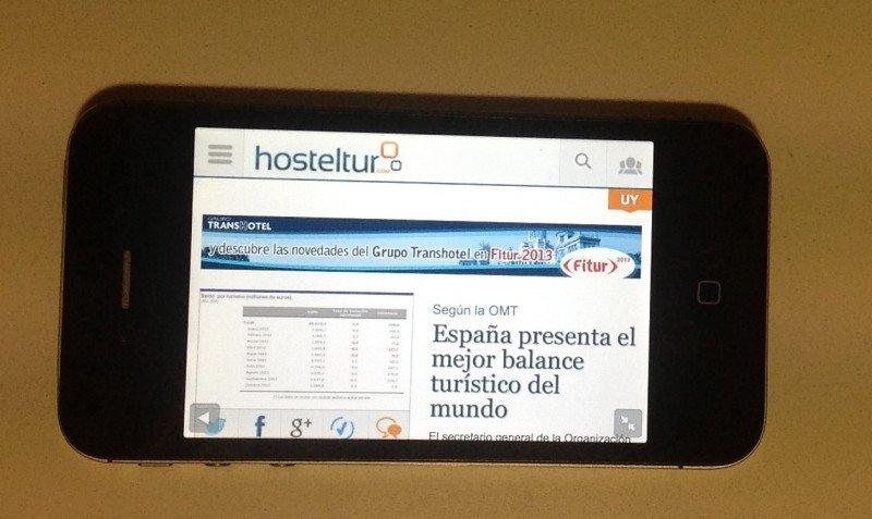 El diario en un iPhone.