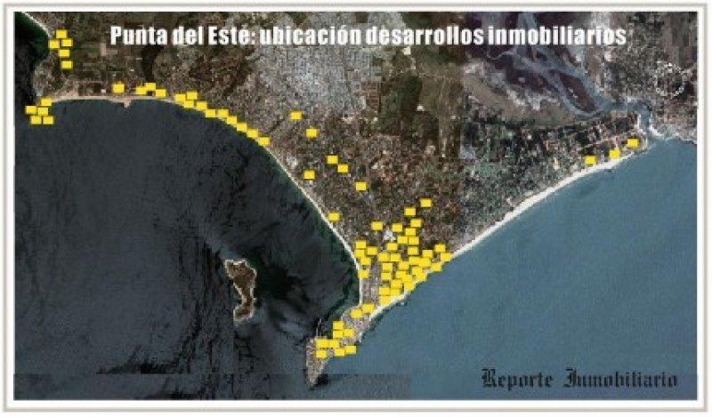 Ubicación de desarrollos inmobiliarios en Punta del Este