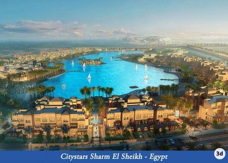 Aspecto que tendrá la laguna artificial que ya está siendo construida en Sharm el Sheikh, en la costa del Mar Rojo de Egipto