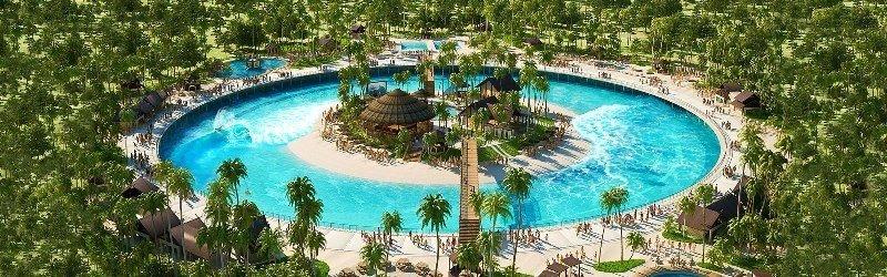 Recreación virtual de la piscina circular de olas sin fin.
