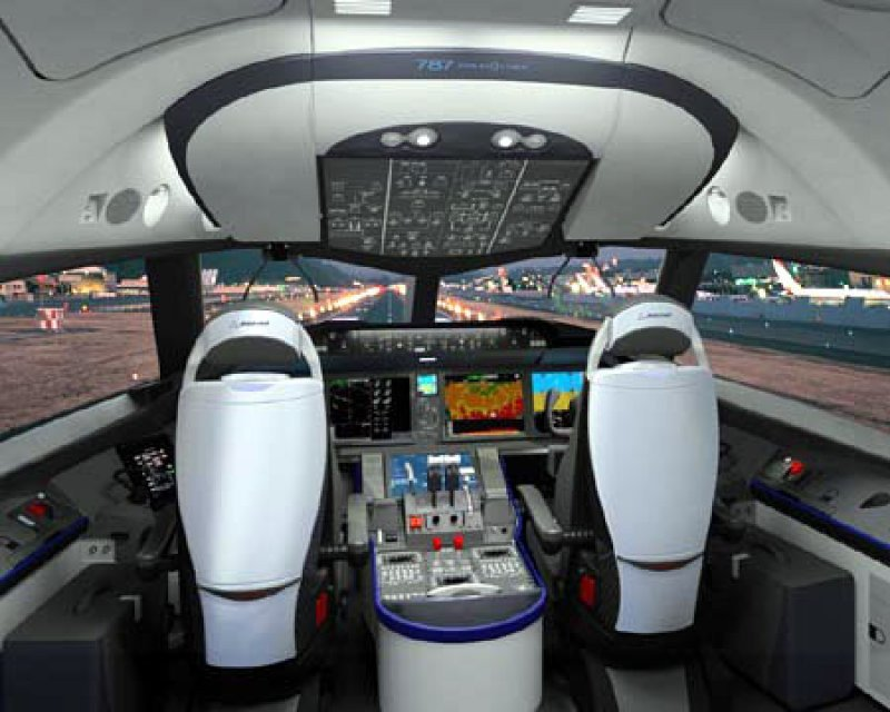 Cabina de los pilotos de un 787 Dreamliner