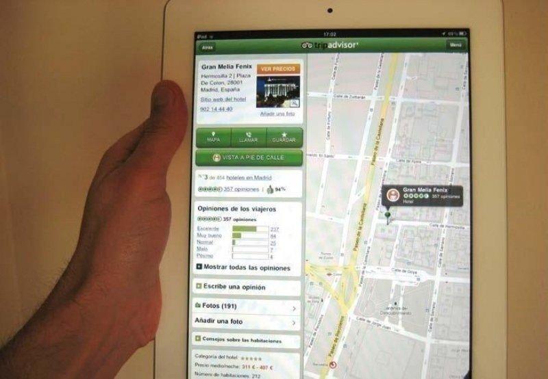 Aplicación de TripAdvisor para el iPad de Apple.