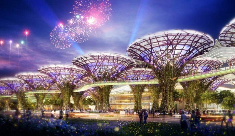 En uno de sus espacios abiertos se podrá pasear entre palmeras artificiales.