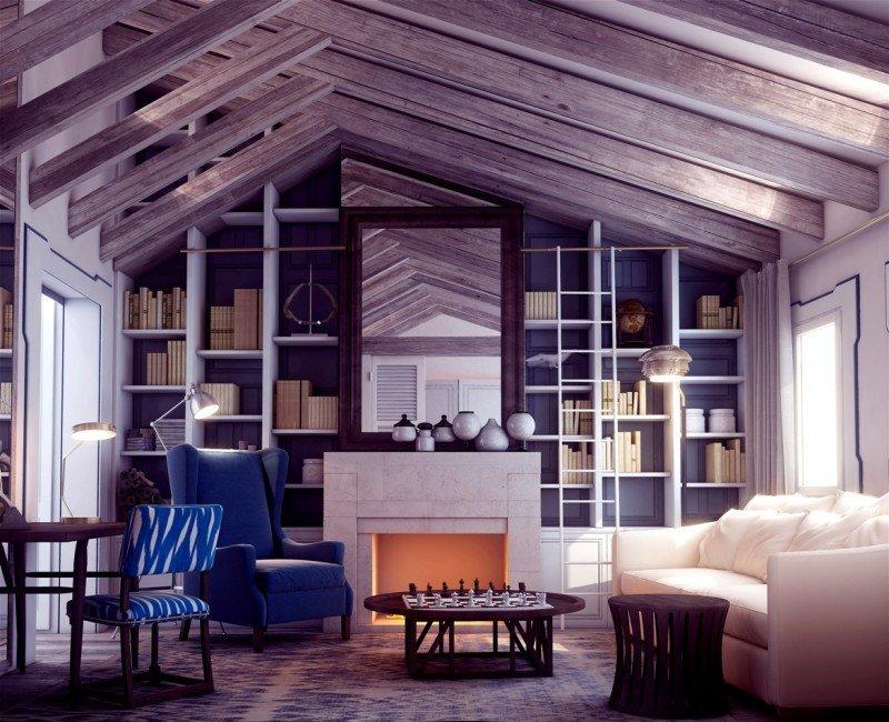 Algunas suites tienen chimenea pensada para largas estancias en invierno.