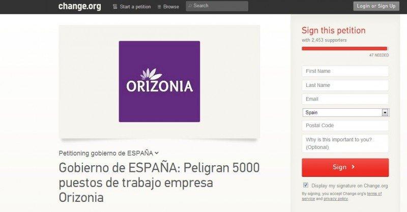 Web en la que están recogiendo firmas los empleados de Orizonia.