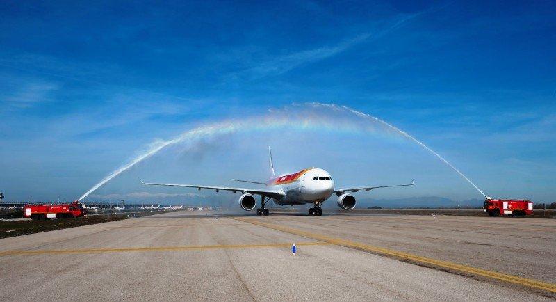 Bautizo del A330 de Iberia en el Aeropuerto de Madrid-Barajas.