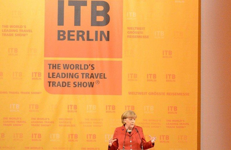 La canciller alemana Ángela Merkel, ayer martes en la inauguración de la ITB.