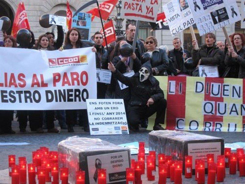 Empleados de Orizonia en la manifestación de Barcelona.