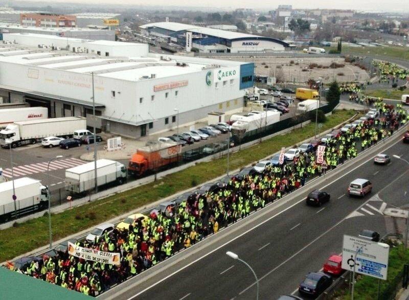 Imagen de la manifestación de los trabajadores de Iberia el pasado 18 de febrero.