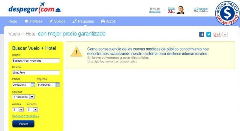 Despegar.com no vende paquetes turísticos para destinos fuera de Argentina.