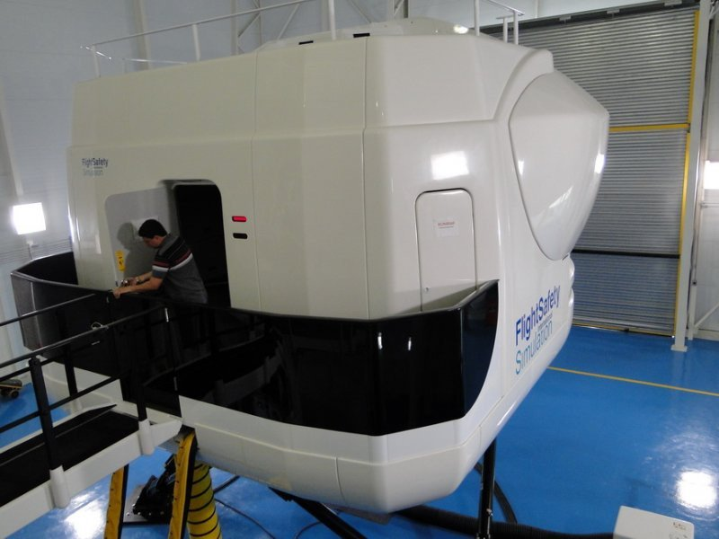 Simulador Embraer ERJ190 en el que ya se capacitaron pilotos extranjeros.