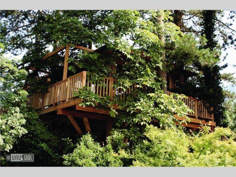 Habitación del Meisters Hotel Irma, construida sobre árboles, en el Tirol italiano.