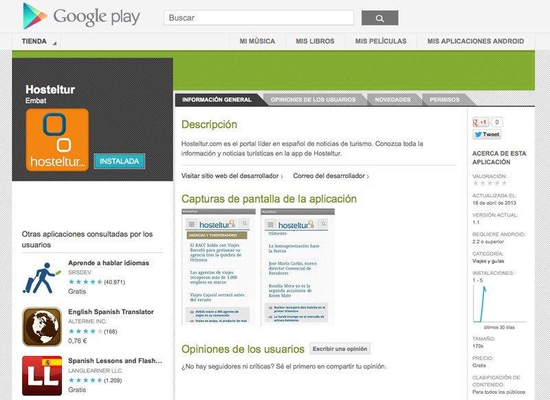 Aplicación de Hosteltur en Google Play