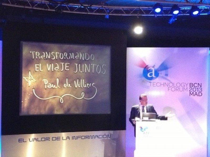 El director general de Amadeus España, Paul de Villiers, durante su intervención en el foro de la compañía.