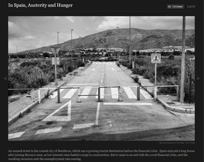 Una foto de un vial abandonado de Benidorm para ilustrar la crisis en el New York Times.