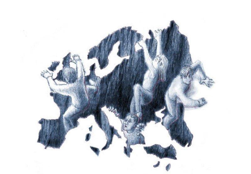 Europa se hunde en la recesión. Ilustración de Periodistadigital.com.