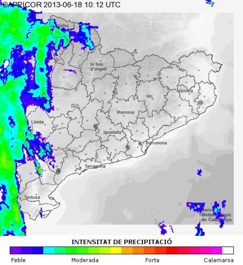 Mapa que muestra la intensidad de lluvias el 18 de junio. Imagen: Meteocat.