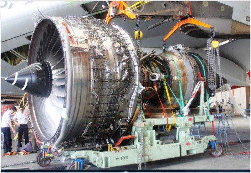 Motor Rolls-Royce Trent 900 del A380 de Qantas que sufrió el fallo.