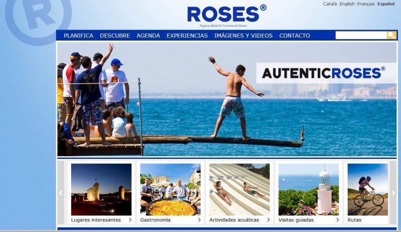 La web oficial de turismo de Roses, donde se puede observar el uso de la letra R en un círculo, logotipo similar al que pretendía usar Repsol para sus guías turísticas y otros productos. Click para ampliar imagen.