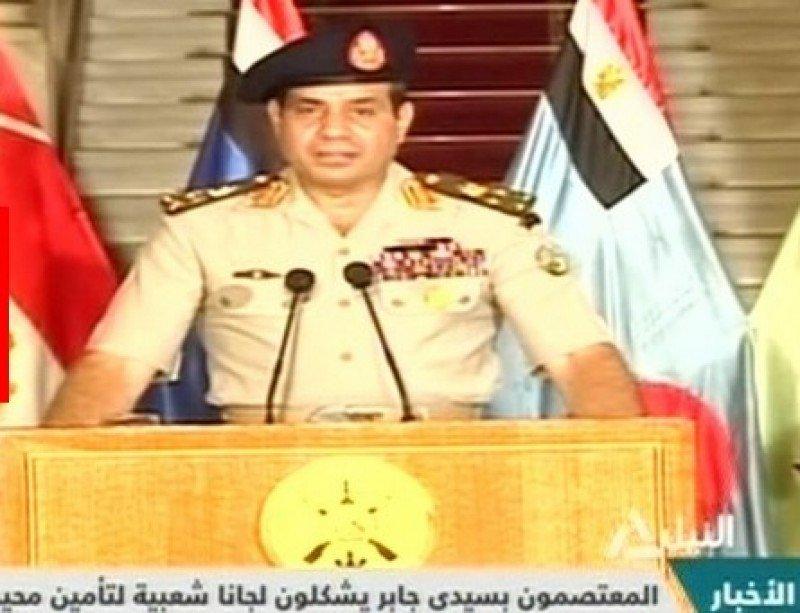 El jefe del Ejército egipcio, anunciando la destitución del presidente del país.