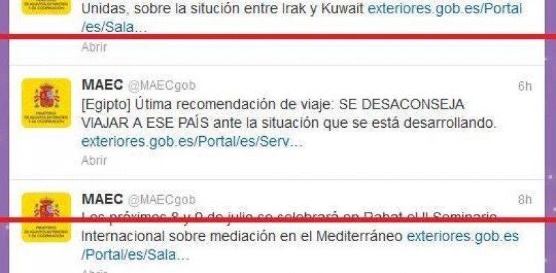 El Ministerio de Exteriores recomienda no viajar a Egipto.