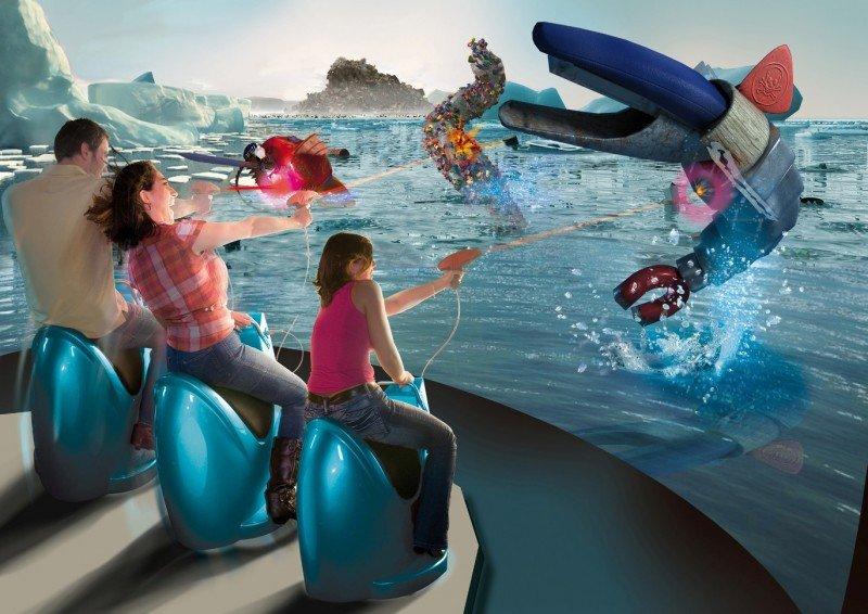 Dedicado a las últimas tecnologías cinematográficas, audiovisuales y robóticas, en Futuroscope se puede luchar contra monstruos marinos en 3D.