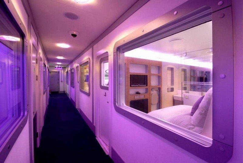 El diseño de Yotel imita el de las cabinas de los aviones.