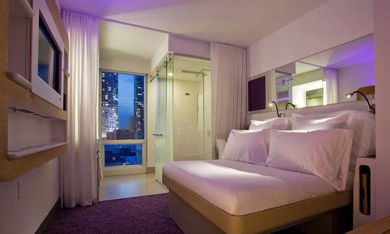 Una de las habitaciones del Yotel de Nueva York, cuyo modelo será aplicado al de Singapur.