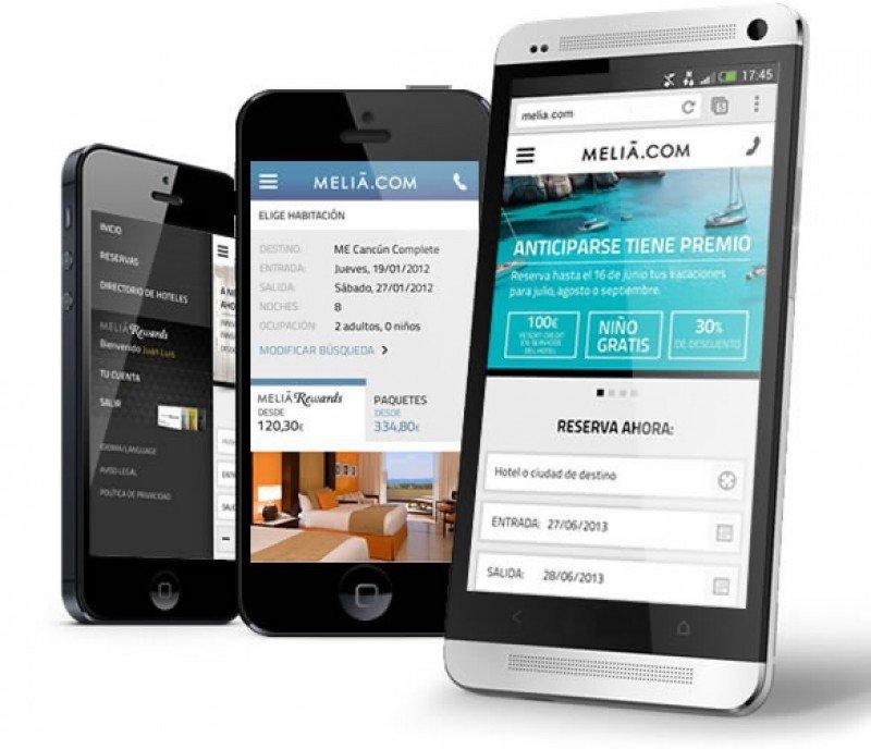La nueva web móvil de Meliá permite la búsqueda de disponibilidad del hotel más cercano a la posición del usuario y el filtrado de hoteles por cercanía.