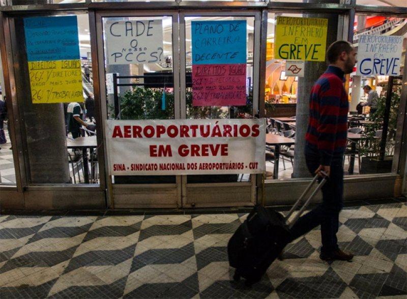 Paro en aeropuertos de Brasil alcanza a 63 terminales. Foto: Folha