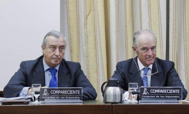 Los presidentes de Renfe y Adif, hoy en el Congreso de los Diputados.