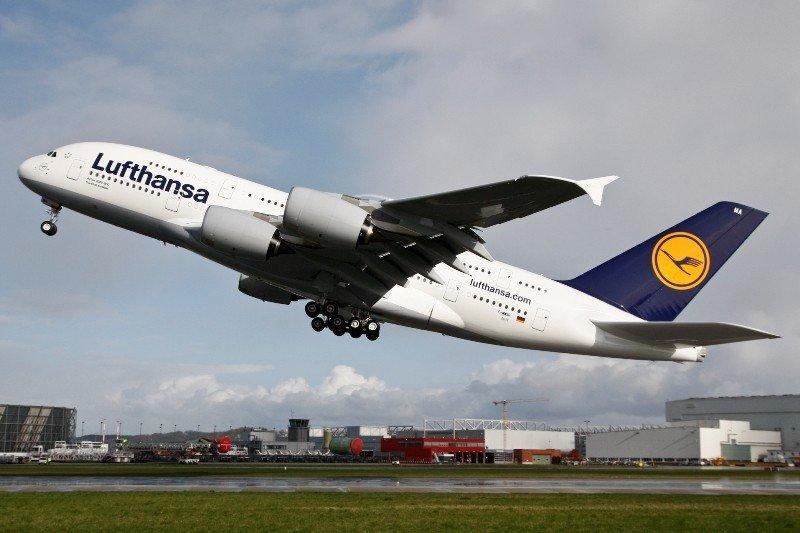 Un avión A380 de Lufthansa.