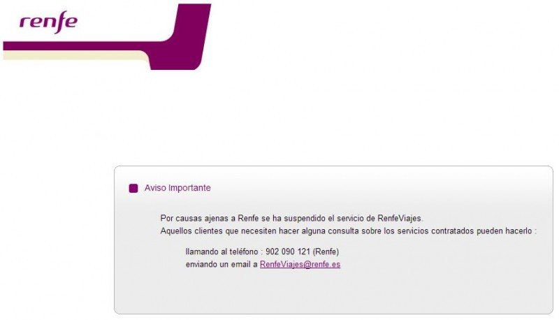 Web de RenfeViajes, hoy en día.