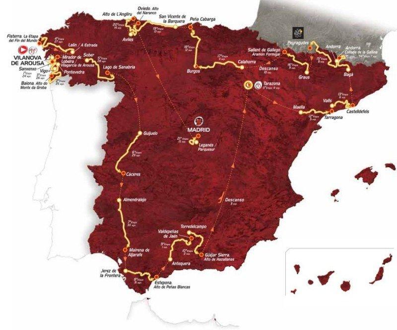Mapa del recorrido de La Vuelta Ciclista a España 2013.