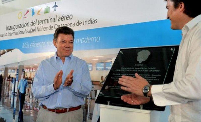 El presidente Juan Manuel Santos en la inauguración de la ampliación del aeropuerto de Cartagena