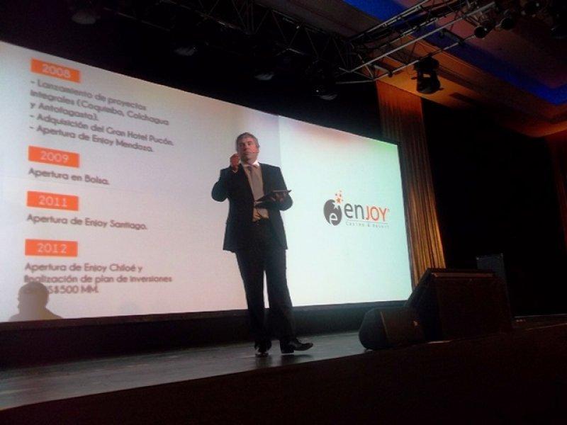 Vicepresidente ejecutivo de Enjoy, Javier Martínez, en su presentación en Punta del Este