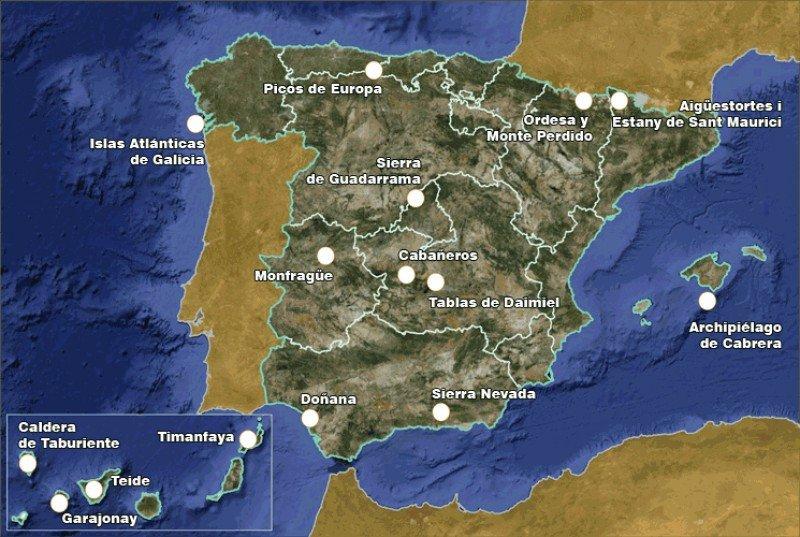 Localización de los Parques Nacionales. Fuente: Ministerio de Agricultura, Alimentación y Medio Ambiente. Click para ampliar imagen.